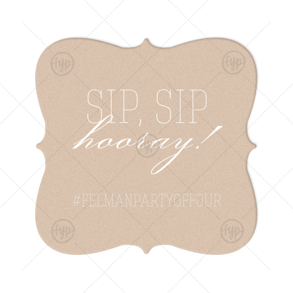 Hooray Coaster | Customize this Kraft and Blush coaster with your wedding hashtag and invite guests to post pictures on social media. With its trendy Sip, Sip Hooray! foil stamp and modern Heart Flourish graphic, this design is all the rage.
