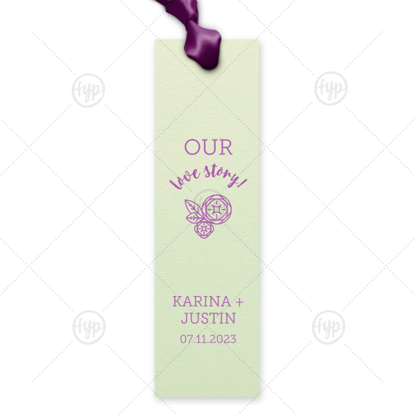 Peony Bookmark | Share your love story beyond the wedding with custom bookmarks. Personalized party favors for the bride and groom who love to read, just add your names and date to our Peony design. Keep our Mint paper and Plum foil or choose your own theme colors.