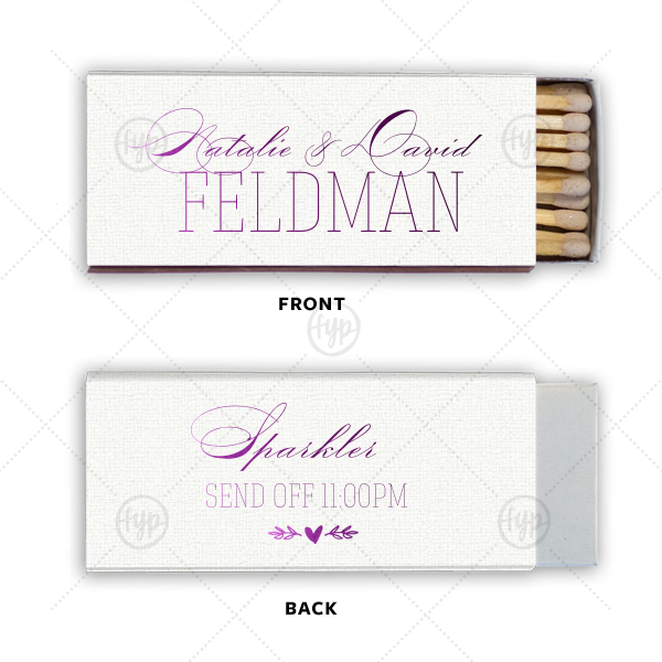 Heart Branch Match | Customize this Lavender matchbox for a personalized party favor to remember! The classic script font is paired with our heart branch graphic for a traditional, trendy feel. End your wedding reception with a fabulous sparkler send off.