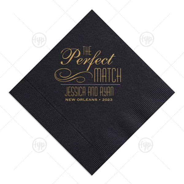 Perfect Flourish Napkin | ForYourParty's elegant Pastel Yellow Cocktail Napkin with Satin 18 Kt. Gold Foil Color has a Flourish 5 graphic and will add that special attention to detail that cannot be overlooked.