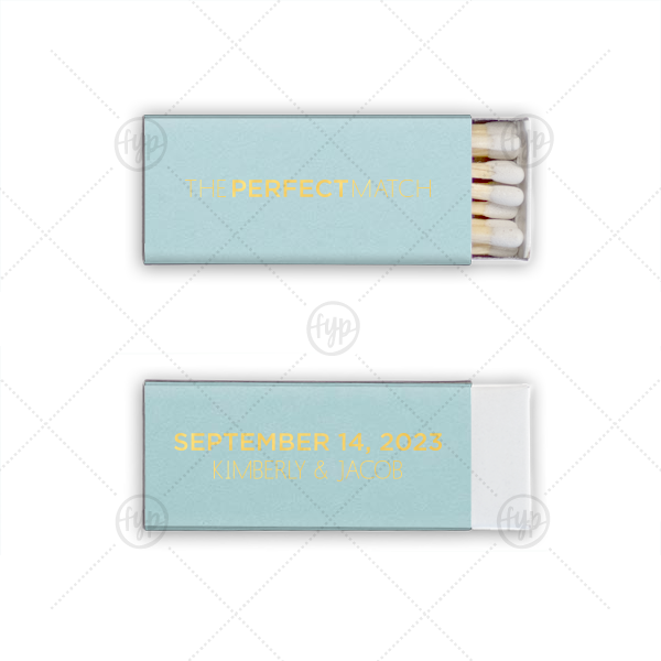 Sleek Perfect Match | Personalized Poptone Sky Blue Euro Matchbox with Shiny 18 Kt Gold Foil will look fabulous with your unique touch. Your guests will agree!