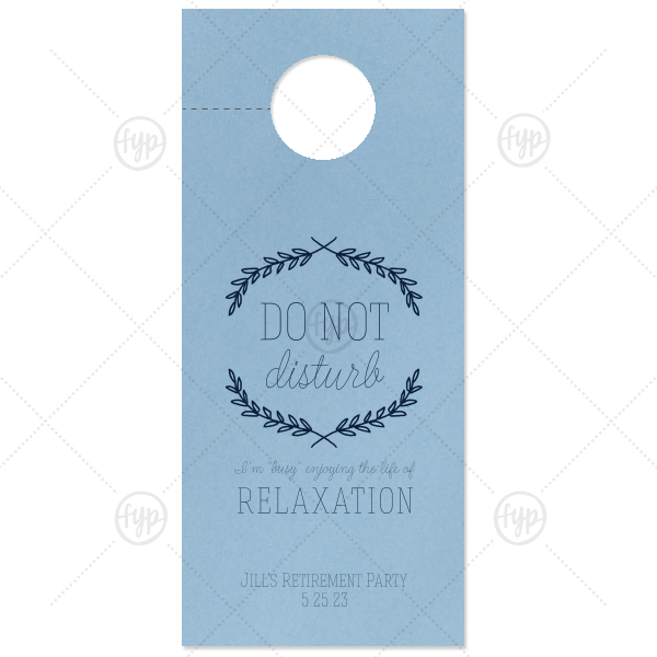 Retirement Branch Door Hanger | Our custom Poptone Mimosa Door Hanger with Satin Plum Foil Color has a Branch Frame 1 graphic and is good for use in Frames, Floral themed parties and will look fabulous with your unique touch. Your guests will agree!