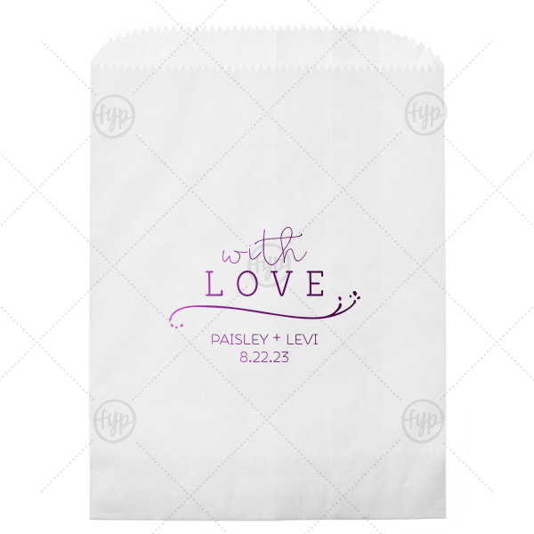 With Love Bag | Our personalized White Party Bag with Shiny Amethyst Foil has a Fancy Flourish graphic and is good for use in Love and Wedding themed parties and will look fabulous with your unique touch. Your guests will agree!
