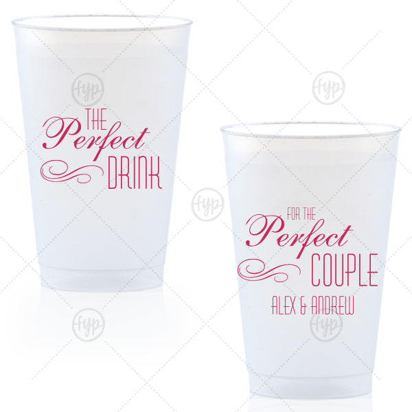 The Perfect Drink Cup | Personalized Matte Fuchsia Ink 14 oz Frost Flex Cup with Matte Fuchsia Ink Cup Ink Colors has a Flourish 5 graphic and couldn't be more perfect. It's time to show off your impeccable taste.