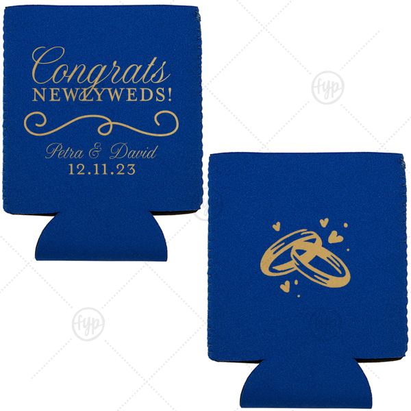 Newlyweds Can Cooler | The ever-popular Royal Blue Flat Can Cooler with Gold Ink Cup Ink Colors has a Fancy Flourish 2 graphic and a Wedding Rings graphic and is good for use in Wedding, Anniversary, Love themed parties and can't be beat. Showcase your style in every detail of your party's theme!