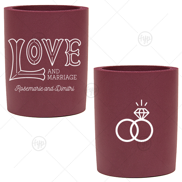 Love and Marriage Wedding Can Cooler | Custom Ivory - Natural Round Can Cooler with Matte Teal/Peacock Ink Cup Ink Colors has a Love 2 graphic and a Wedding Rings 2 graphic and is good for use in Wedding themed parties and can be personalized to match your party's exact theme and tempo.