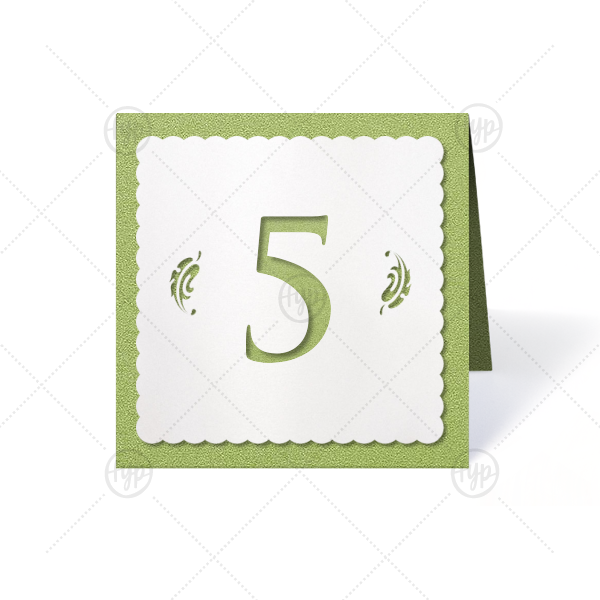 Forest Scallop Contour Tempo | Organize your reception seating with custom square table numbers that match your decor beautifully. These shadow cut numbers with a scalloped trim and leaf laser cut are the perfect combination of stylish and elegant. Simply choose your theme colors!