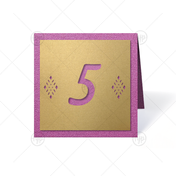 Guide your guests to the correct seat with custom table numbers. Laser cut with a beautiful diamond design, these square numbers are perfect for a wedding reception, mitzvah or other formal event. Simply choose your theme colors and select the number needed.