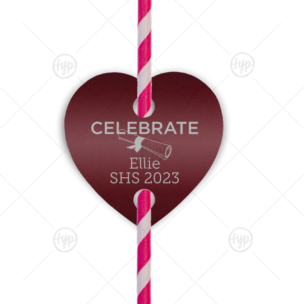 Our personalized Natural Cranberry Heart Straw Tag with Satin Sterling Silver Foil Color has a Graduation Scroll graphic and is good for use in Graduation themed parties and will give your party the personalized touch every host desires.