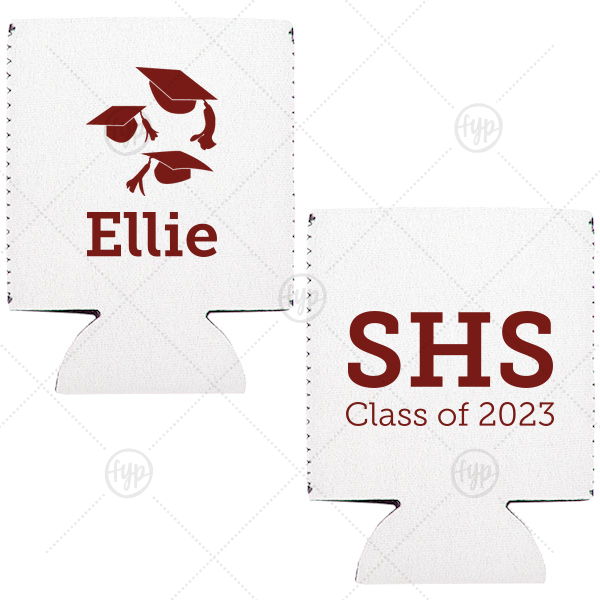 Graduation Cap Flat Can Cooler | ForYourParty's elegant Off White Flat Can Cooler with Matte Merlot Ink Screen Print has a Caps Thrown graphic and is good for use in Graduation themed parties and will make your guests swoon. Personalize your party's theme today.