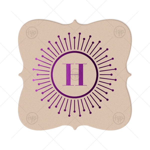 Burst Initial Coaster | Our custom Kraft with Blush back Nouveau Coaster with Shiny Amethyst Foil Color has a sunburst frame 2 graphic and is good for use in Frames themed parties and can be personalized to match your party's exact theme and tempo.
