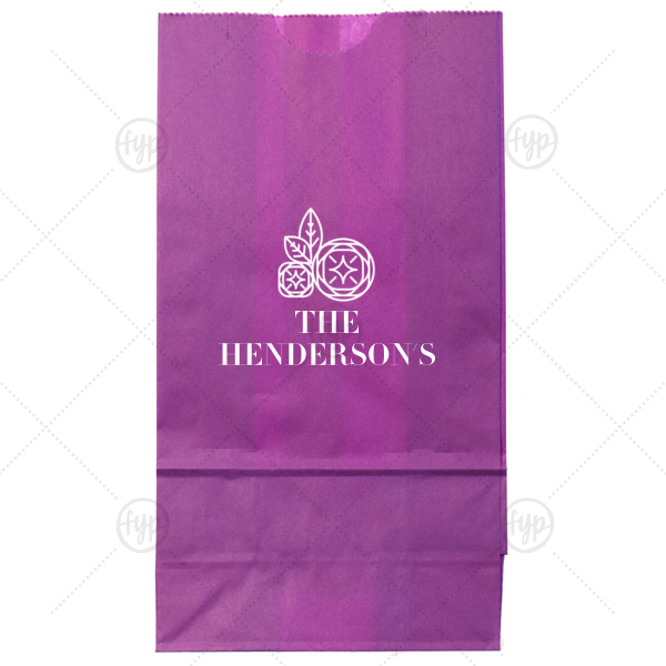 Family Name Bag | Personalized White Goodie Bag with Shiny Copper Foil Color has a Geo Flowers graphic and is good for use in Floral themed parties and can be personalized to match your party's exact theme and tempo.