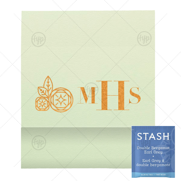 Monogram Geo Flower Tea Favor | ForYourParty's elegant Poptone Mint Tea Favor with Shiny Copper Foil Color has a Geo Flowers graphic and is good for use in Floral themed parties and couldn't be more perfect. It's time to show off your impeccable taste.