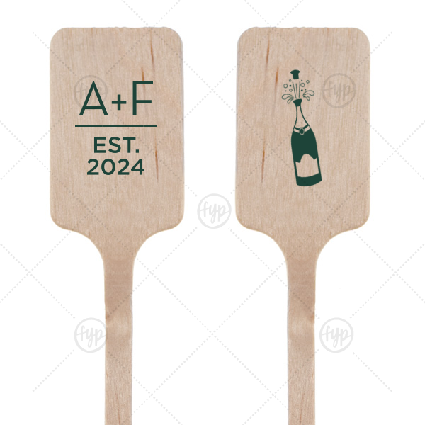 Champagne Stir Stick | ForYourParty's chic Matte Spruce Rectangle Stir Stick with Matte Spruce Foil Color has a Champagne Bottle graphic and is good for use in Drinks, Wedding themed parties and couldn't be more perfect. It's time to show off your impeccable taste.
