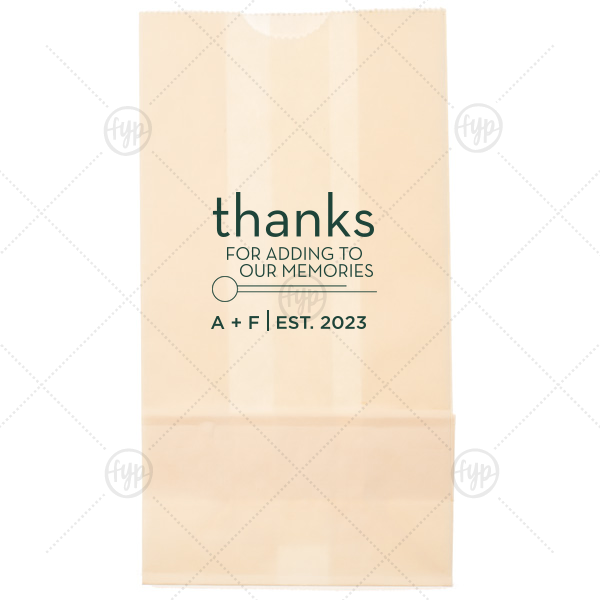 Thanks For the Memories Bag | Our beautiful custom Ivory Goodie Bag with Matte Spruce Foil Color has a Circle Flourish graphic and is good for use in Accents themed parties and couldn't be more perfect. It's time to show off your impeccable taste.