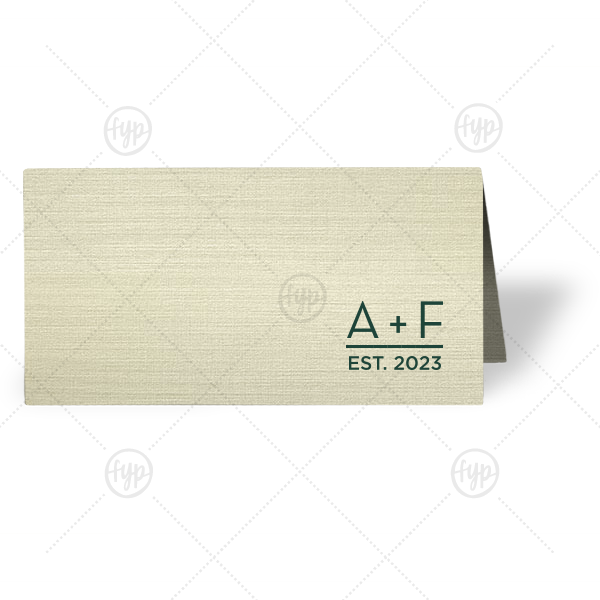 Date Est Place Card | Our custom Linen Pearl Cream Regal Place Card with Matte Spruce Foil will add that special attention to detail that cannot be overlooked.