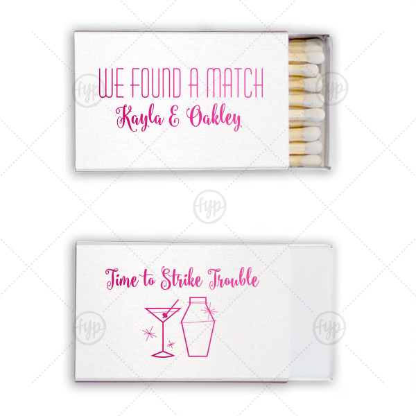 Personalized Stardream Crystal White Classic Matchbox with Shiny Fuchsia Foil Color has a Martini and Shaker graphic and is good for use in Drinks themed parties and will make your guests swoon. Personalize your party's theme today.