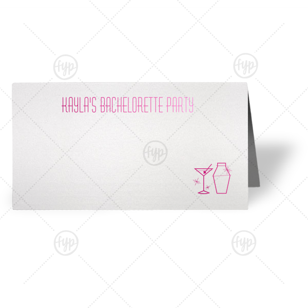 ForYourParty's personalized Stardream Crystal White Classic Place Card with Shiny Fuchsia Foil Color has a Martini and Shaker graphic and is good for use in Drinks themed parties and will impress guests like no other. Make this party unforgettable.