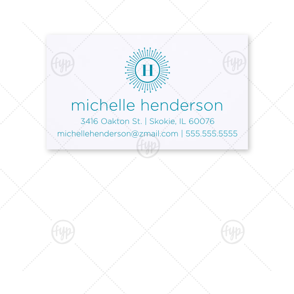 Sunburst Initial Calling Card | ForYourParty's personalized Natural Frost White Business/Calling Card with Satin Teal / Peacock Foil has a sunburst frame 2 graphic and is great to brighten up your business cards and couldn't be more perfect. It's time to show off your impeccable taste.