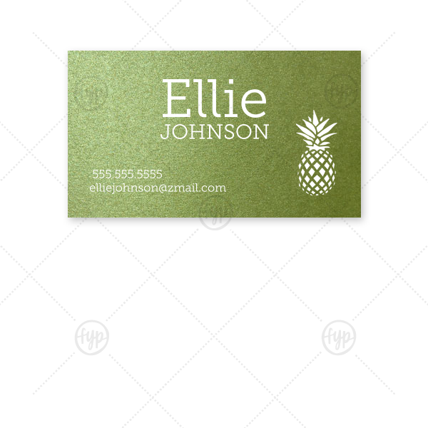 Custom Poptone Kiwi Business/Calling Card with Matte White Foil has a Pineapple graphic and is good for use to jazz up your business cards and can be personalized to match your party's exact theme and tempo.
