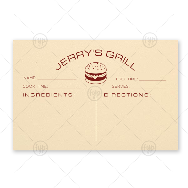 Burger Recipe Card | ForYourParty's elegant Natural Ivory Recipe Card with Matte Merlot Foil has a Burger graphic and is good for use in Food themed parties and will be the perfect gift for the grill master in your life.