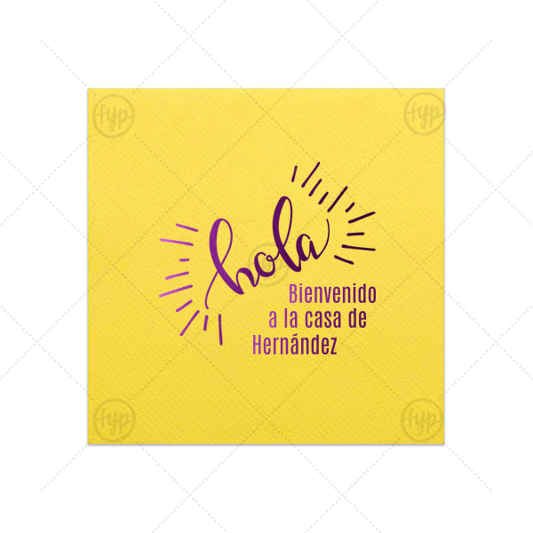 Bienvenido Napkin | Our personalized Lemon Cocktail Napkin with Shiny Amethyst Foil Color has a Hola graphic and is good for use in Words themed parties and will add that special attention to detail that cannot be overlooked.