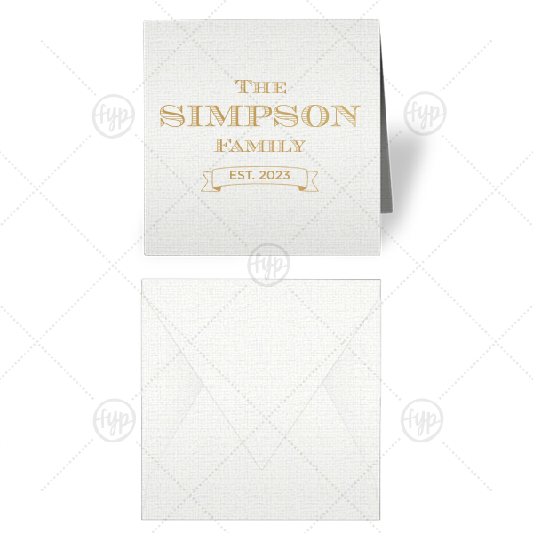 Family Name Gift Enclosure | Our personalized Linen White Gift Enclosure with Satin Gold Foil has a Banner graphic and is good for use at a variety or parties and couldn't be more perfect for year-round gift giving. It's time to show off your impeccable taste.