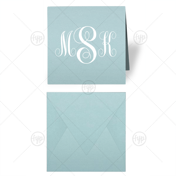 Classic Monogram Gift Enclosure | Our beautiful custom Poptone Sky Blue Gift Enclosure with Matte White Foil can be personalized to match your party's exact theme and tempo.
