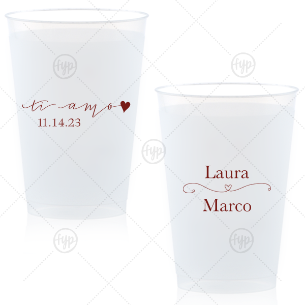 Ti Amo Cup | The ever-popular Matte Merlot Ink 12 oz Frost Flex Cup with Matte Merlot Ink Screen Print has a Ti Amo graphic and a Simple Heart Flourish graphic and is good for use in Frames themed parties and will add that special attention to detail that cannot be overlooked.