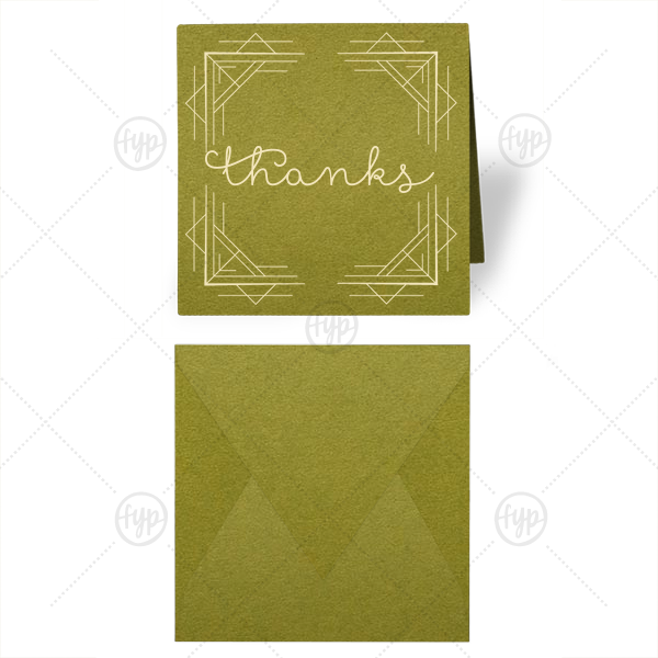 Thanks Geometric Gift Enclosure | Our personalized Poptone Dark Olive Gift Enclosure with Shiny Copper Foil has a Deco Frame 2 graphic and is good for use in Birthday, Wedding, Anniversary themed parties or Just Because and will look fabulous with your unique touch. Your guests will agree!