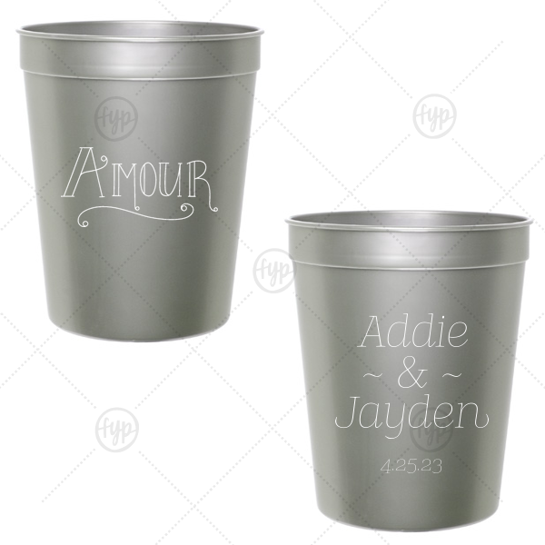 Amour Cup | Our beautiful custom Silver 16 oz Stadium Cup with Matte White Ink Ink Color has a Amour graphic and is good for use in Words themed parties and will add that special attention to detail that cannot be overlooked.