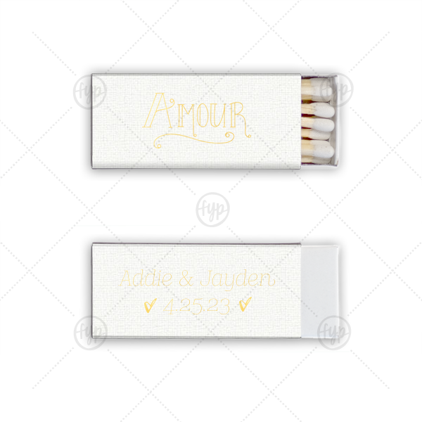 Amour Match | Our custom Linen White Euro Matchbox with Shiny 18 Kt Gold Foil Color has a Amour graphic and is good for use in Words themed parties and will add that special attention to detail that cannot be overlooked.