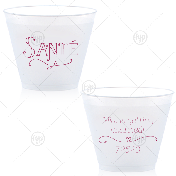 Santé Frost Flex Cup  | ForYourParty's chic Matte Navy Ink 9 oz Frost Flex Cup with Matte Navy Ink Screen Print has a Sante graphic and a Simple Heart Flourish graphic and is good for use in Frames themed parties and will add that special attention to detail that cannot be overlooked.