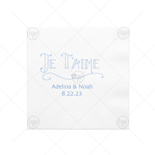 Je T'aime Napkin | Custom White Cocktail Napkin with Shiny Lavender Foil Color has a Je Taime graphic and is good for use in Words themed parties and couldn't be more perfect. It's time to show off your impeccable taste.