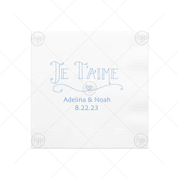Custom White Cocktail Napkin with Shiny Lavender Foil Color has a Je Taime graphic and is good for use in Words themed parties and couldn't be more perfect. It's time to show off your impeccable taste.