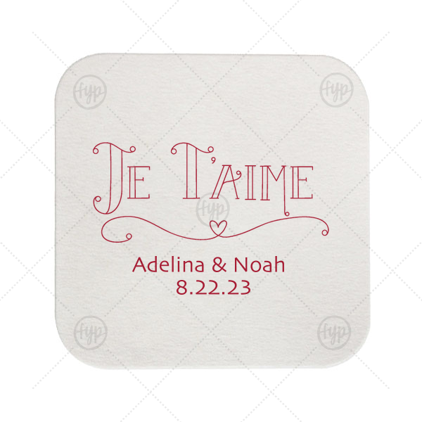 Je T'aime Coaster | The ever-popular Eggshell Square Coaster with Matte Lipstick Red Foil Color has a Je Taime graphic and is good for use in Words themed parties and will look fabulous with your unique touch. Your guests will agree!