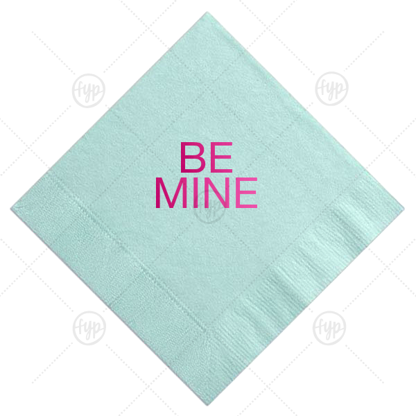 Be Mine Cocktail Napkin | Our beautiful custom Aqua Cocktail Napkin with Shiny Fuchsia Foil can be customized to complement every last detail of your party.