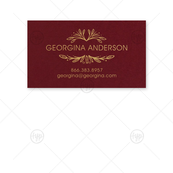 Our beautiful custom Natural Cranberry Business/Calling Card with Satin 18 Kt. Gold Foil has a Rustic Leaf Frame graphic and is good for when you need to have your contact information handy on the go.