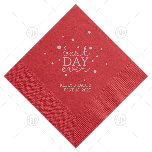 Best Day Ever Bubbles Napkin | Have the best party details ever with this personalized napkin. Our Lipstick Red and Bubbles make this design perfect to make any engagement party, rehearsal dinner or wedding pop. Add your names and engagement or wedding date for a bar addition you and your guests will love!