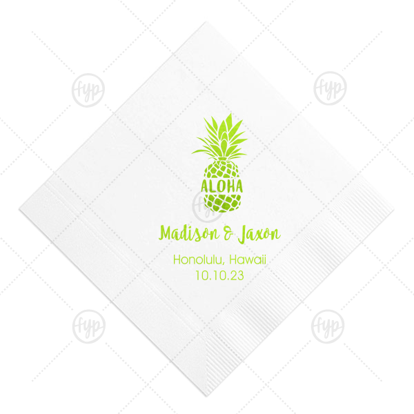 Aloha Pineapple Napkin | Custom White Cocktail Napkin with Matte Key Lime Foil has an Aloha graphic and is good for use at a Destination Wedding and will give your party the personalized touch every host desires.