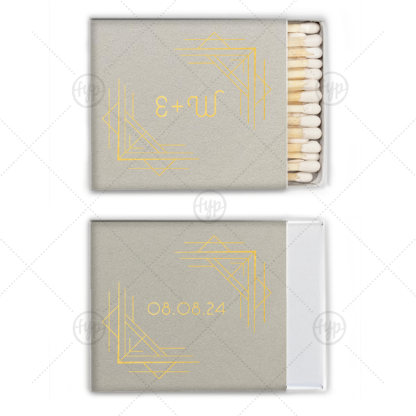 Square Deco Match   Our personalized Natural Gray Riviera Matchbox with Shiny 18 Kt Gold Foil Color has a Deco Frame 3 graphic and a Deco Frame 3 graphic and is good for use in Frames themed parties and will give your party the personalized touch every host desires.