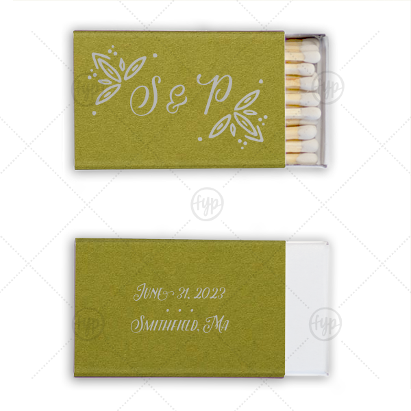 Rustic Leaf Match | Personalized Poptone Dark Olive Classic Matchbox with Satin Sterling Silver Foil Color has a Rustic Leaf Accent graphic and is good for use in Accents themed parties and can be customized to complement every last detail of your party.