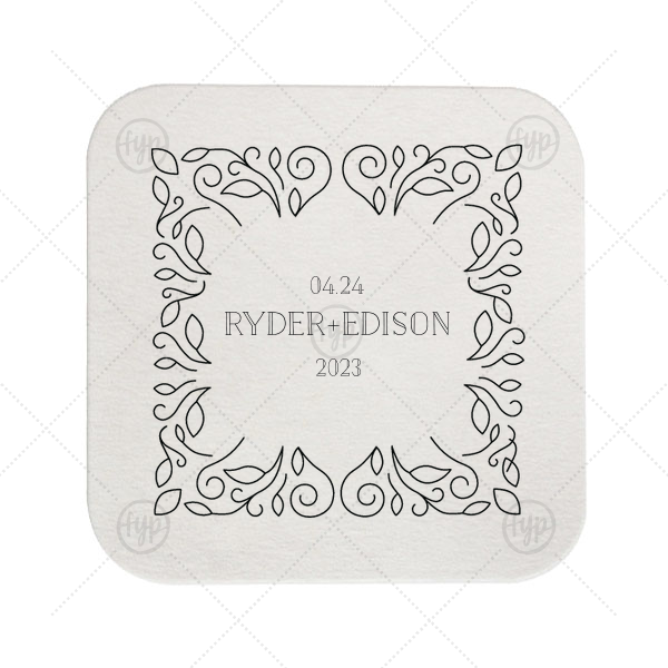 Linear Floral Coaster | Our custom White Square Coaster with Shiny Rose Quartz Foil Color has a Linear Floral Frame graphic and is good for use in Frames themed parties and can be personalized to match your party's exact theme and tempo.