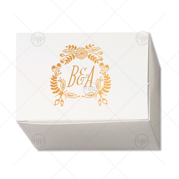 Rustic Floral Cake Box | Our beautiful custom Shiny Copper Cake Box with Shiny Copper Foil Color has a Rustic Floral Frame graphic and is good for use in Frames themed parties and will look fabulous with your unique touch. Your guests will agree!