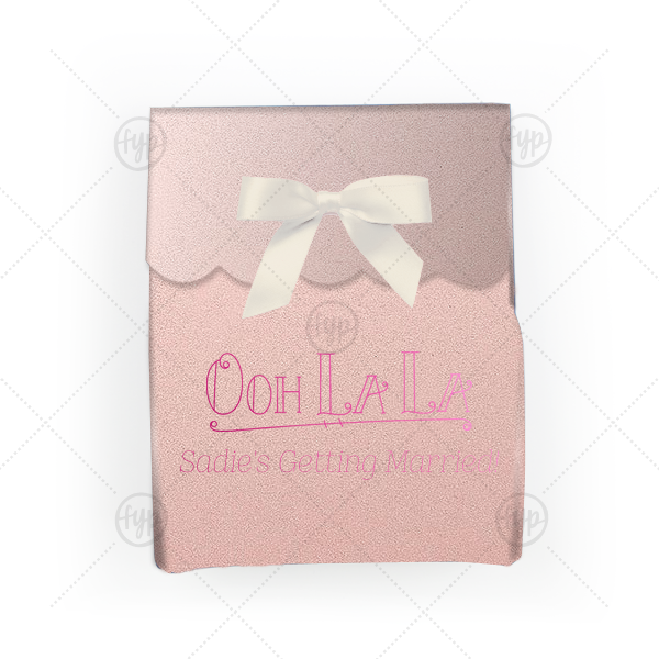 Our personalized Stardream Ballet Pink Truffle Box with Shiny Fuchsia Foil Color has a Ooh La La graphic and is good for use in Words themed parties and can be customized to complement every last detail of your party.