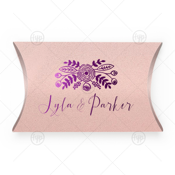 ForYourParty's personalized Stardream Ballet Pink Pillow Box with Shiny Amethyst Foil Color has a Rustic Floral Accent graphic and is good for use in Accents themed parties and can be personalized to match your party's exact theme and tempo.