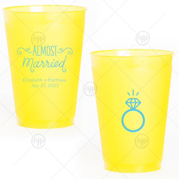 Almost Married Cup | Our custom Yellow 12 oz Frost Flex Color Cup with Matte Turquoise Ink Cup Ink Colors has a Almost Married 3 graphic and a Diamond Ring graphic and is good for use in Engagement, Wedding, Bridal Shower themed parties and are a must-have for your next event—whatever the celebration!