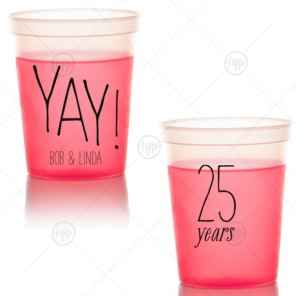 Yay Anniversary Cup | Our custom Red 16 oz Stadium Mood Cup with Matte Black Ink Cup Ink Colors has a Yay graphic and is good for use in any Celebration party and will look fabulous with your unique touch. Your guests will agree!