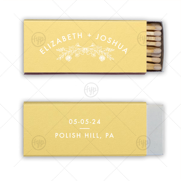 Growing Together Floral Wedding Match | Our beautiful custom Poptone Mimosa Candle Matchbox with Matte White Foil has a Rose Laurel graphic and is good for use in Wedding and  Floral themed parties and will add that special attention to detail that cannot be overlooked.