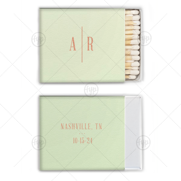 Abraham Lincoln Initials Wedding Match  | Our beautiful custom Poptone Mint Riviera Matchbox with Shiny Rose Gold Foil will make your guests swoon. Personalize your party's theme today.